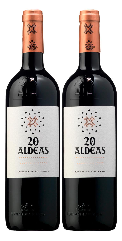 Dos botellas del vino tinto 20 Aldeas