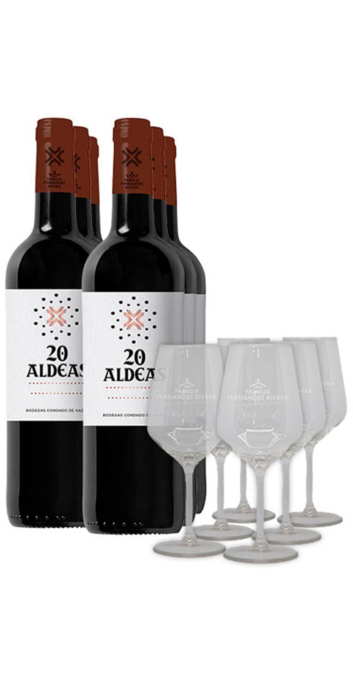 6 botellas del tinto 20 Aldeas más 6 copas de vino serigrafiadas con el logotipo de la bodega