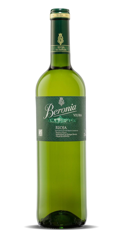 Botella del vino blanco Beronia Viura 2020