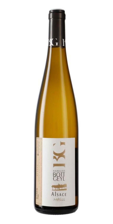 Botella del vino blanco Bott-Geyl Gentil d