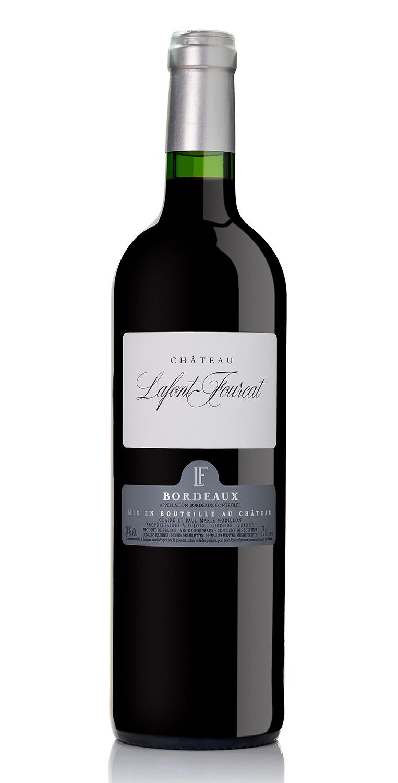 Botella del vino tinto Château Lafont Fourcat 2016