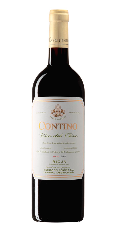 Botella del vino tinto Contino Viña del Olivo 2017