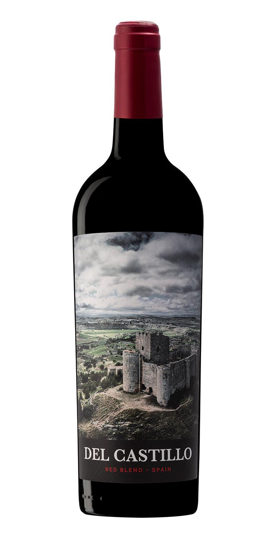 Botella del vino tinto Del Castillo Red Blend 2018