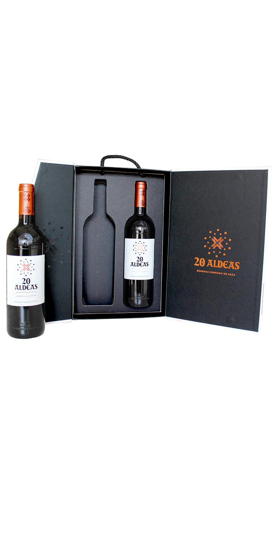 Interior del estuche de dos botellas del vino tinto 20 Aldeas