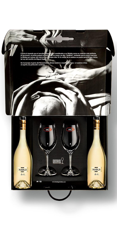 Estuche formado por 2 botellas del vino blanco Habla de ti... y dos copas Riedel