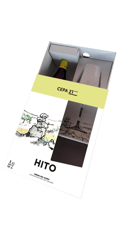 Estuche semiabierto formado por una botella del vino tinto Hito más una copa de vino