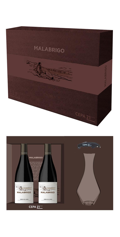 Estuche formado por 2 botellas del tinto Malabrigo, más un decantador y un sacacorchos de sumiller