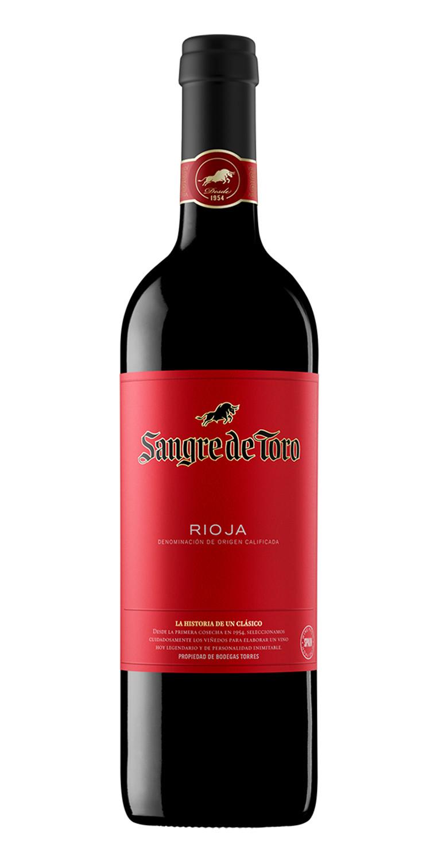 Botella del vino tinto Sangre de Toro Rioja