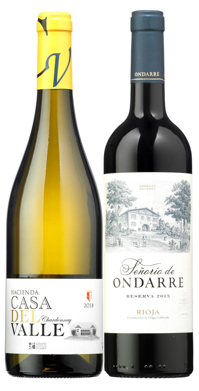 Señorío de Ondarre Reserva 2015 y Hacienda Casa del Valle Chardonnay 2018