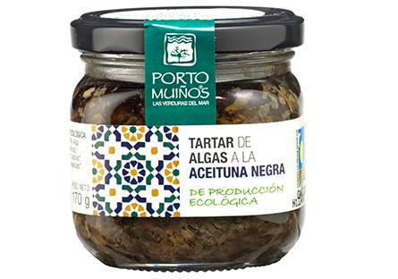 Tartar de algas con aceitunas negras