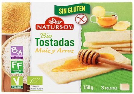 Tostadas de arroz y maíz sin gluten eco Natursoy