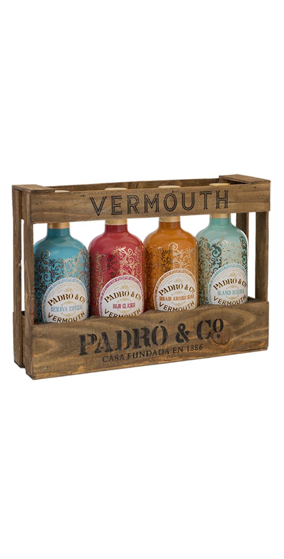 Vermouth Padró & Co. Caja de madera de 4 botellas