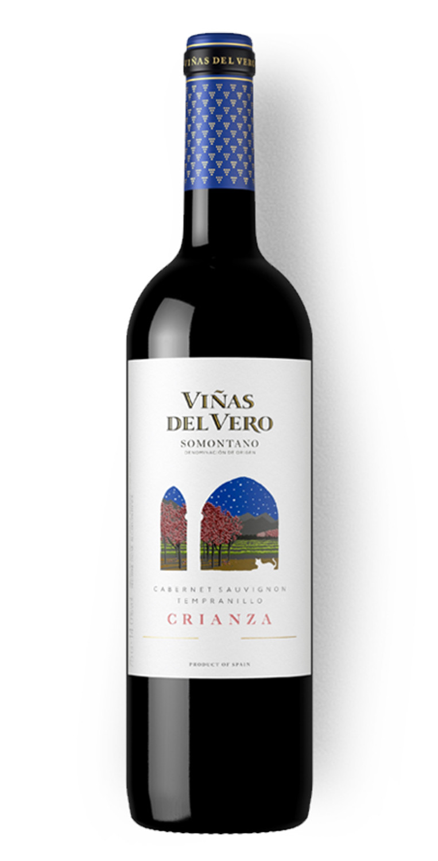 Botella del vino tinto Viñas del Vero Crianza 2017