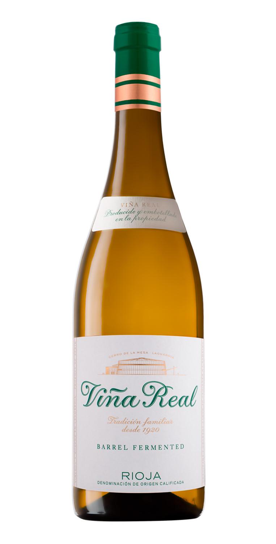 Botella del vino blanco Viña Real Fermentado en Barrica 2019