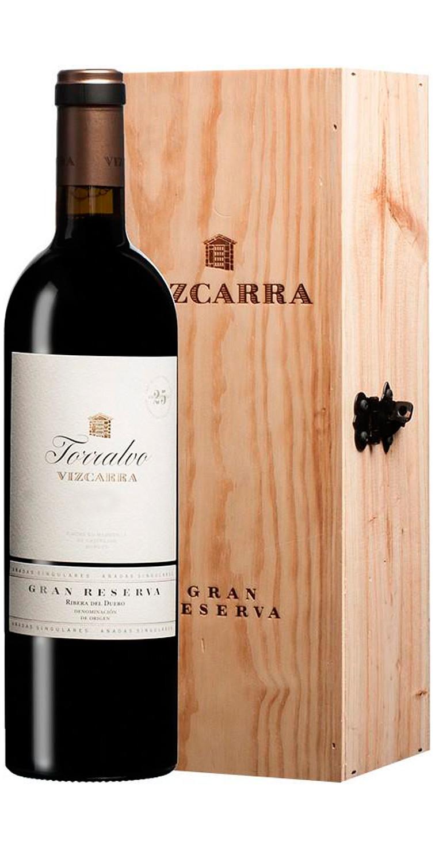 Botella del vino tinto Vizcarra Torralvo Gran Reserva 2011 con estuche de madera