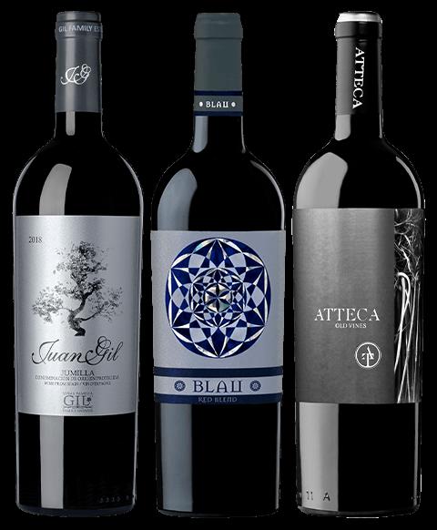 Juan Gil Etiqueta Plata 2018, Blau 2019 y Atteca 2017
